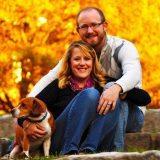 Samm, her husband Kyle, and dog Yogi