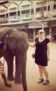 Natalie Marking greeting an elephant in Thailand