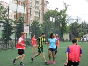 Summer missionaries playing soccer in South East Asia