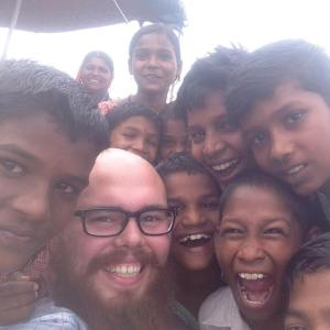 Tyler Linkous making new friends in India